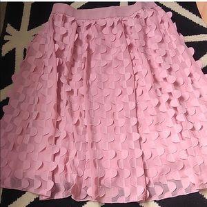 Ann Taylor Pink Scalloped Midi Skirt